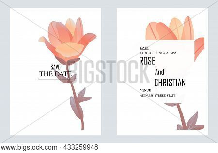 Minimalist Wedding Invitation. Postcard To Invite Guests To Your Holiday, Invitation For Friends. St