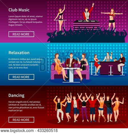 Nightlife Entertainment Best Dance Club Webpage 3 Flat Banners Design With Strip Musical Show Isolat