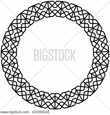 Ring With Greco-roman Pattern On Isolated White Background. Greco-roman Vector Circle Symbol In Blac