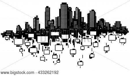 Skyline City Falling Rooms Silhouette Outline Black, Vector Illustration, Horizontal, Over White, Is