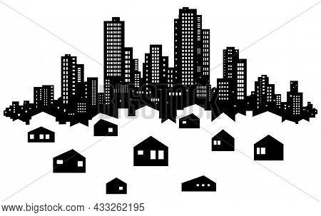 Skyline City Suburbs Silhouette Outline Black, Vector Illustration, Horizontal, Over White, Isolated