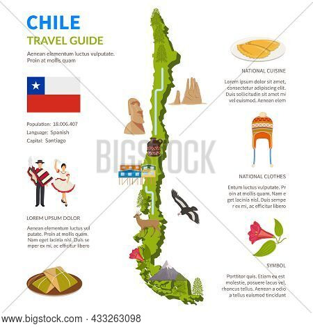 Chile Infographics Flat Layout With Border Map And Travel Guide Page Text Elements And Symbols Vecto