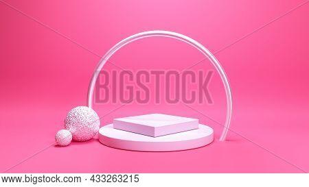 3d Podium Set Silver Steel Arch Metalize Balls Pastel Natural Pink Backdrop Background. Trendy Subtl