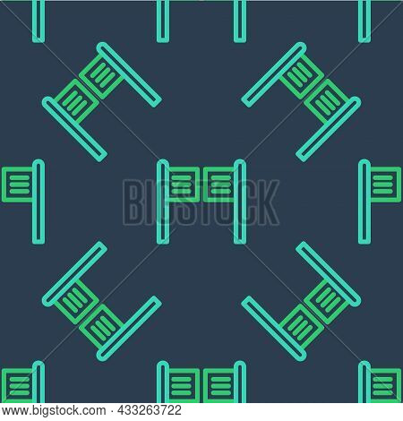 Line Old Western Swinging Saloon Door Icon Isolated Seamless Pattern On Blue Background. Vector