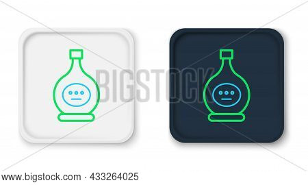 Line Bottle Of Cognac Or Brandy Icon Isolated On White Background. Colorful Outline Concept. Vector