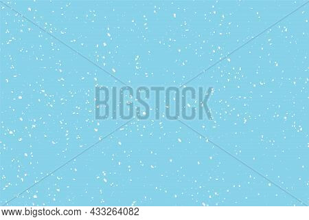 Winter Snowfall And Snowflakes On Light Blue Background. Hand Drawn Snow Pattern. Doodle Cold Winter