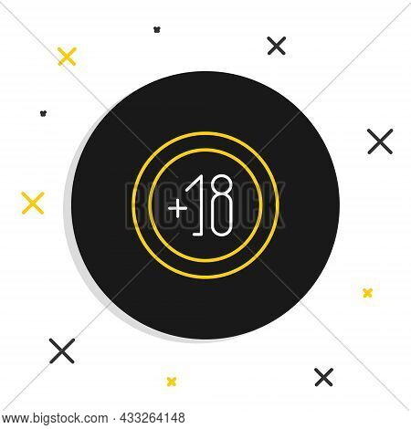 Line Alcohol 18 Plus Icon Isolated On White Background. Prohibiting Alcohol Beverages. Colorful Outl