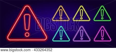 Neon Exclamation Mark In A Triangle. A Set Of Attention Signs Of Different Colors Is An Exclamation