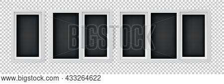 Set Of Different Size Plastic Windows. Single, Double And Triple Pane Casement Windows. White Window