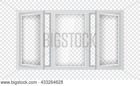Large Plastic Window With Half Open Casements. Triple Plastic Window Mockup Template. Realistic Wind