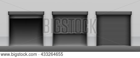 Set Of Black Roller Shutter Gates On Light Grey Wall Of Building. Open And Closed Roller Shutter Doo