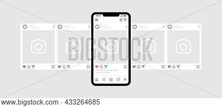 Kyiv, Ukraine - August 1, 2021: Smartphone With Instagram Carousel Post. Instagram Interface Carouse
