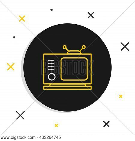 Line Retro Tv Icon Isolated On White Background. Television Sign. Colorful Outline Concept. Vector