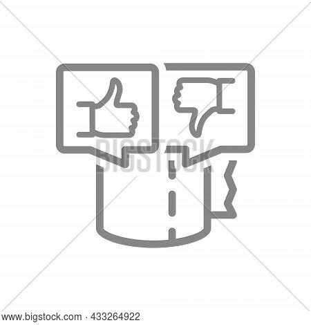 Toilet Paper With Thumb Up And Thumb Down In Speech Buble Line Icon. Paper Roll, Napkins, Voting, Li