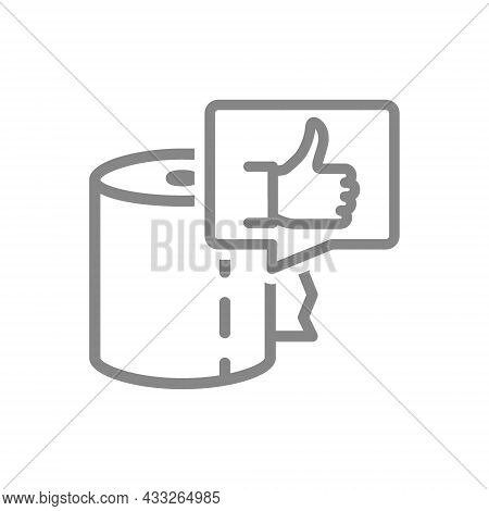Paper Towels And Thumb Up In Speech Buble Line Icon. Paper Roll, Napkins, Positive Product Evaluatio