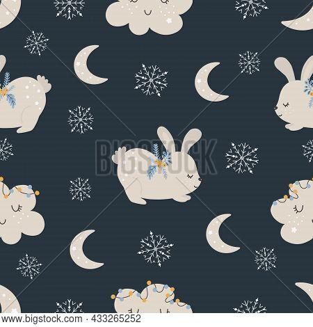 Christmas Pattern With Rabbit Scandinavian Hand Drawn Seamless Pattern. New Year, Christmas, Holiday