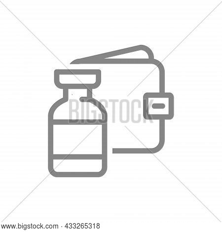 Medical Ampoule And Wallet Line Icon. Vaccination, Paid Vaccine, Serum, Worldwide Immunity Symbol
