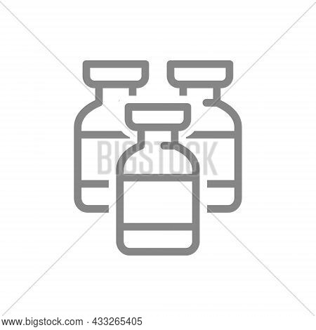 Medical Vaccine Batch Line Icon. Vaccination, Vaccine, Immunization, Serum Symbol
