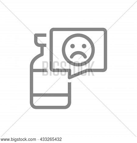 Medical Ampoule And Sad Face In Speech Buble Line Icon. Vaccination, Vaccine Evaluation, Negative Fe
