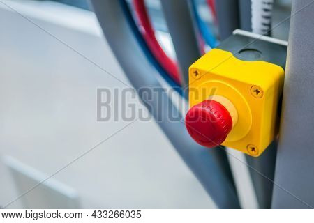 Machine Control Panel With Power Red Switch Button - Emergency Stop At Factory, Plant - Close Up. In