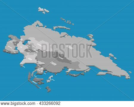 Isometric Political Map Of Asia. Grey Land With Country Name Labels On Blue Sea And Ocean Background