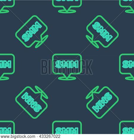 Line Smm Icon Isolated Seamless Pattern On Blue Background. Social Media Marketing, Analysis, Advert