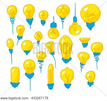 A Set Of Yellow Light Bulbs . Hand-drawn Cartoon-style Isolated Bright Light Bulbs Of Different Shap