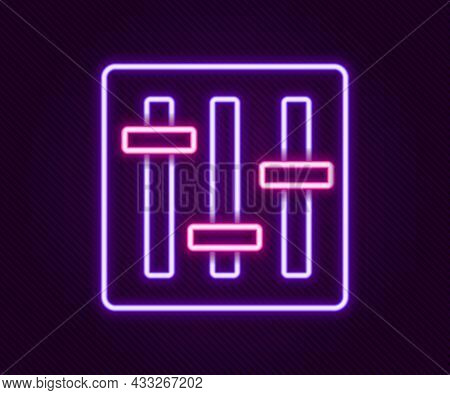Glowing Neon Line Sound Mixer Controller Icon Isolated On Black Background. Dj Equipment Slider Butt