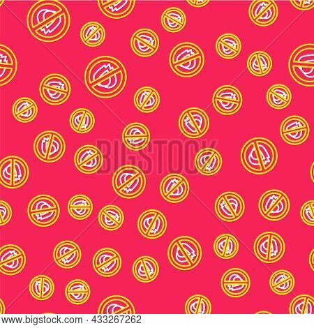 Line No Fire Icon Isolated Seamless Pattern On Red Background. Fire Prohibition And Forbidden. Vecto