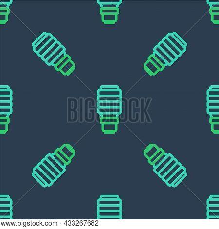 Line Led Light Bulb Icon Isolated Seamless Pattern On Blue Background. Economical Led Illuminated Li