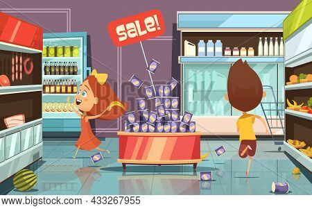 Running Kids In A Shop With Mess Food And Drinks Cartoon Vector Illustration