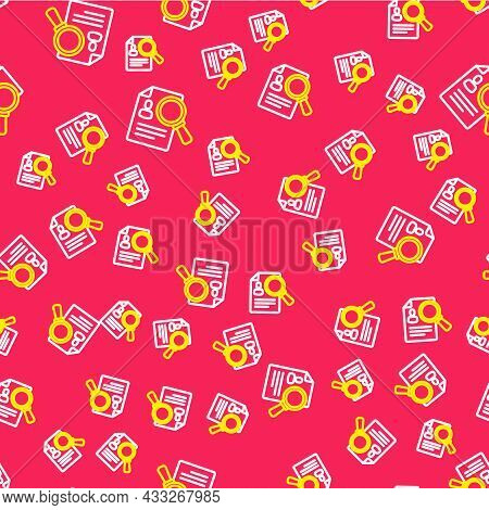 Line Document, Paper Analysis Magnifying Glass Icon Isolated Seamless Pattern On Red Background. Evi