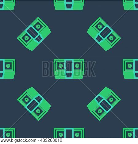 Line Bribe Money Cash Icon Isolated Seamless Pattern On Blue Background. Money Banknotes Stacks. Bil