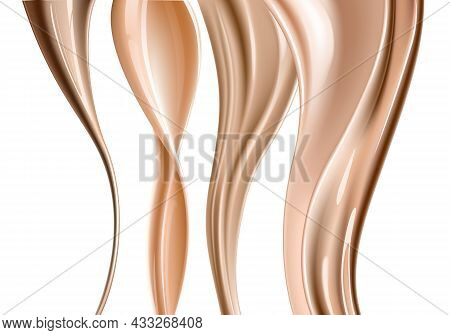Realistic Foundation Creamy Texture For Beauty Products Ad, 3D Effect. Foundation Liquid Design