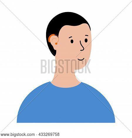World Deaf Day. Human Hearing Aid. Cartoon Man Character Happy To Hear With Hearing Device. Ear Soun