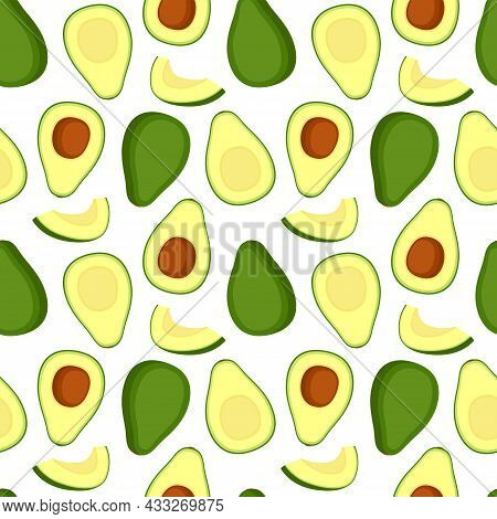 Seamless Pattern With Avocado. Healthy Food. Texture For Packaging, Wrapping Paper, Fabric, Vector I