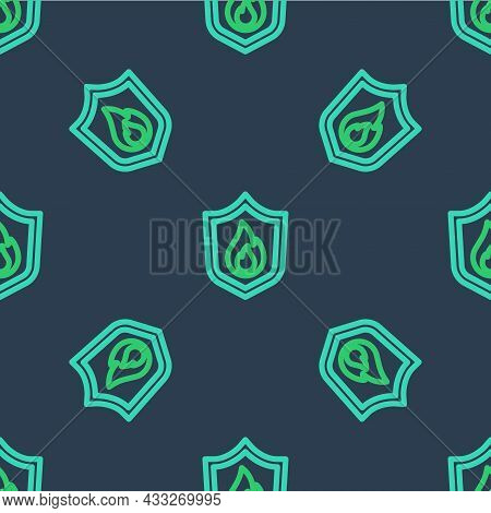 Line Fire Protection Shield Icon Isolated Seamless Pattern On Blue Background. Insurance Concept. Se