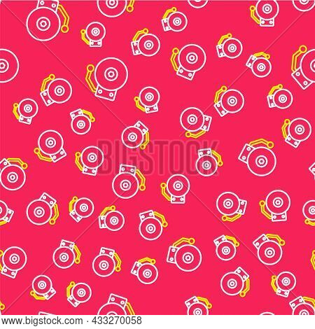 Line Ringing Alarm Bell Icon Isolated Seamless Pattern On Red Background. Fire Alarm System. Service