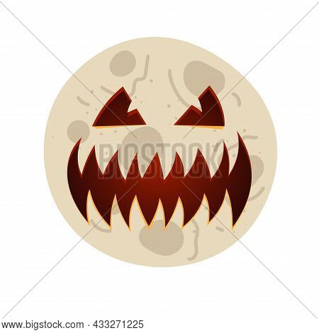 Moon With Carved Scary Spooky Jack O Lantern Creepy Toothy Smile Face. Evil Happy Halloween Holiday
