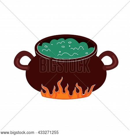 Potion Boils In Cauldron On Fire. Drawing Vector Isolated Eps Illustration