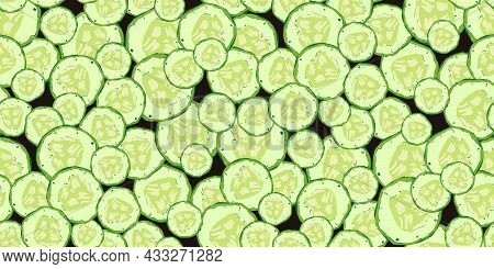 Seamless Pattern From Slices Of Fresh Cucumber. Tasty Eco Friendly Vegetables For Healthy Food. Vege
