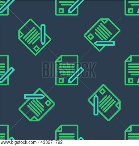 Line Exam Sheet And Pencil With Eraser Icon Isolated Seamless Pattern On Blue Background. Test Paper