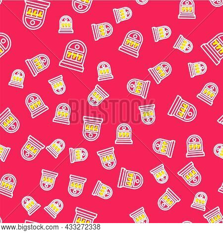 Line Slot Machine With Lucky Sevens Jackpot Icon Isolated Seamless Pattern On Red Background. Vector