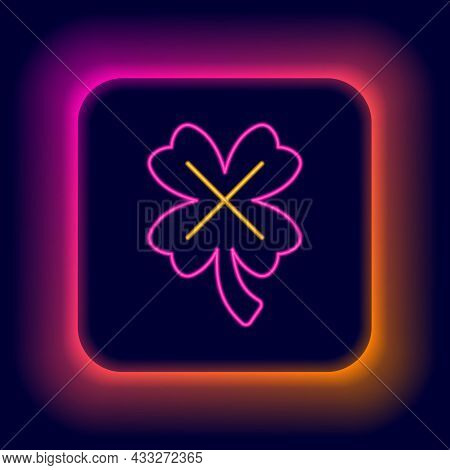 Glowing Neon Line Casino Slot Machine With Clover Symbol Icon Isolated On Black Background. Gambling