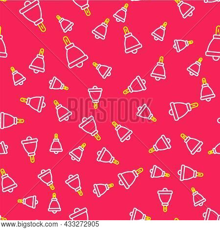 Line Ringing Bell Icon Isolated Seamless Pattern On Red Background. Alarm Symbol, Service Bell, Hand