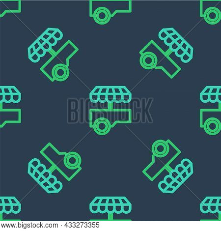 Line Fast Street Food Cart With Awning Icon Isolated Seamless Pattern On Blue Background. Urban Kios