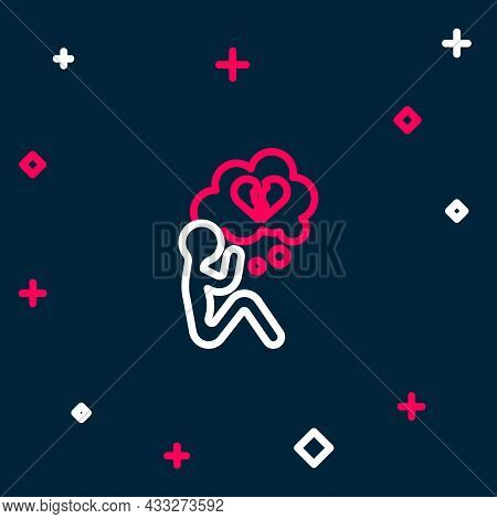 Line Broken Heart Or Divorce Icon Isolated On Blue Background. Love Symbol. Valentines Day. Colorful