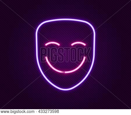 Glowing Neon Line Comedy Theatrical Mask Icon Isolated On Black Background. Colorful Outline Concept