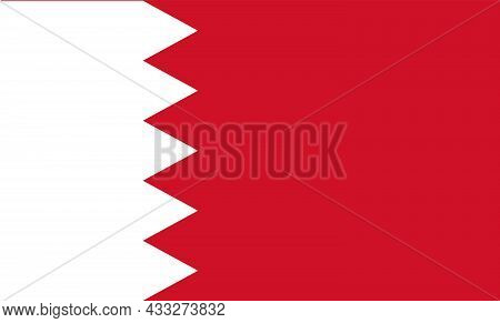 White And Red Flag Of The Kingdom Of Bahrain. Vector Illustration. Eps10