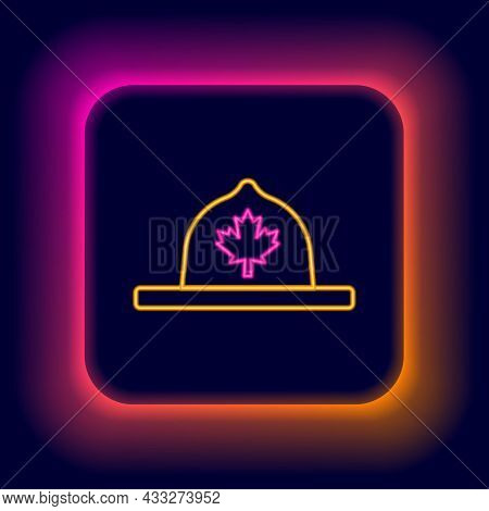 Glowing Neon Line Canadian Ranger Hat Uniform Icon Isolated On Black Background. Colorful Outline Co